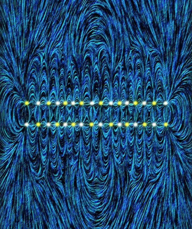 Artistic rendering of field lines due to a 16 ion antiferromagnet. (Credit E. Edwards/JQI)