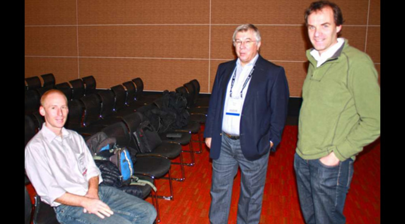 March APS meeting devoted to quantum simulations. From left to right: Invited speakers Ian Spielman (JQI) and Rainer Blatt (IQOQI, Innsbruck), and session moderator Marcus Greiner (CUA-Harvard). JQI scientist Mohammad Hafezi also delivered an invited talk at this session. Photo Credit: Phillip F. Schewe