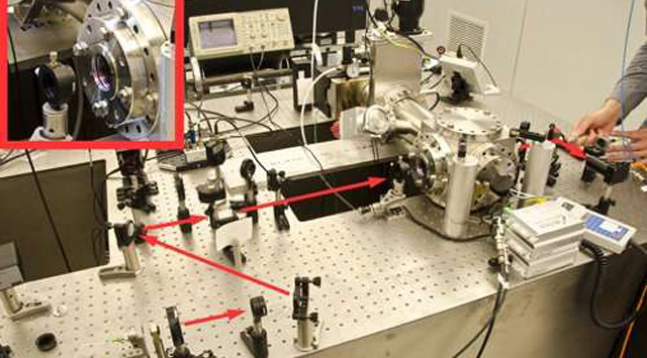 The grating reflector is mounted at one end of a Fabry-Perot cavity which has a mirror on the other end. Then the entire device is placed in a vacuum chamber (right) and illuminated with laser light (red line) that enters the chamber through a port (inset) in the side. The output beam exits the chamber at a second port (far right) and is routed to a photo-detector. Scientists adjust the frequency of the laser beam so that it matches the cavity resonance condition at a particular time, and thus determine the