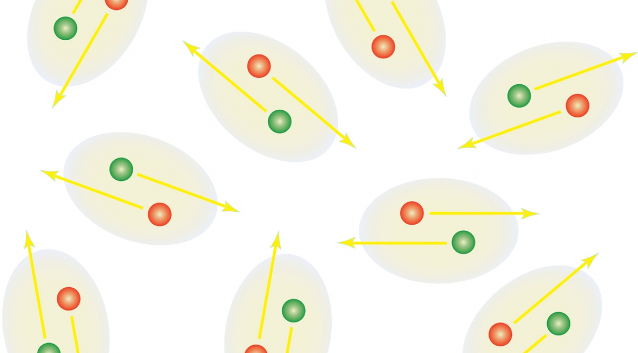 Artist's rendition of a counterflow superfluid state. In this type of superfluid, the motion of one type of atom is perfectly matched with an atom of the other type moving in the opposite direction.