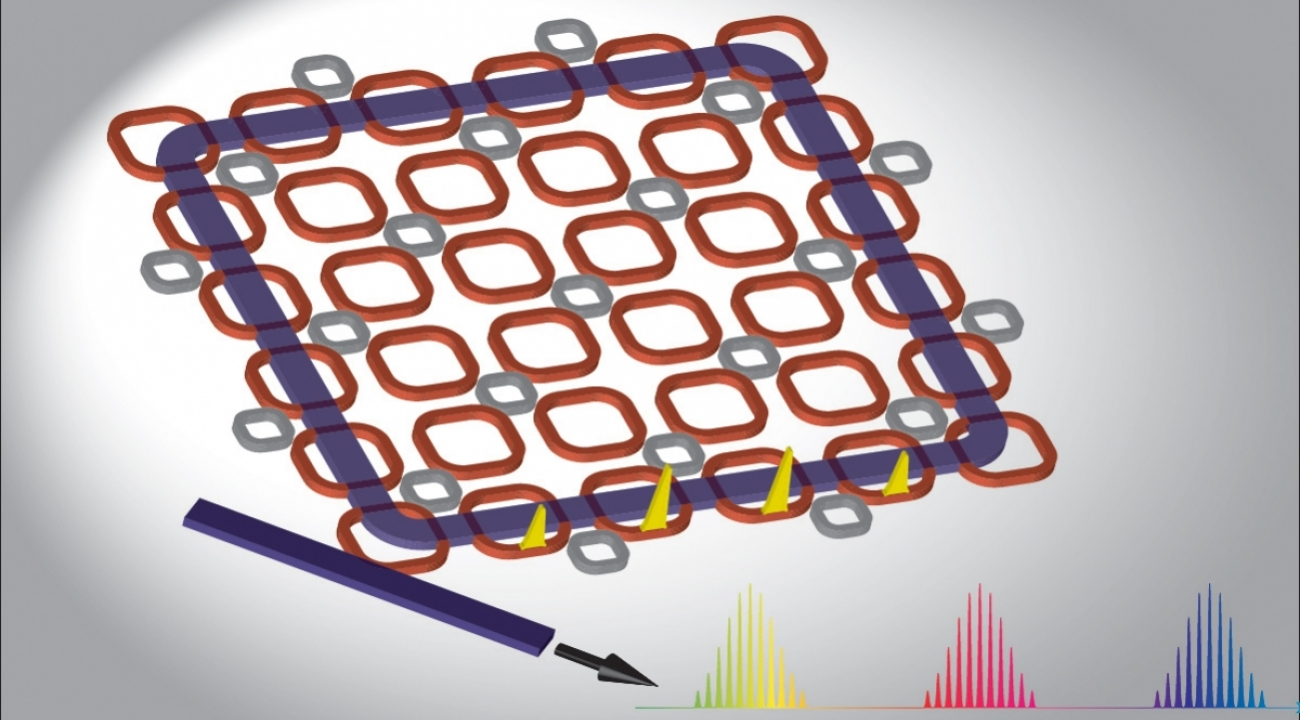 Rendering of a light-guiding lattice of micro-rings that researchers predict will create a highly efficient frequency comb