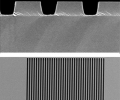 The gratings are fabricated with approximately 700 nm between ridges. Each has slightly different spacing and thickness, affecting reflectivity and mechanical performance. Bottom: A single grating measuring 50 micrometers on a side.