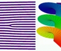 A Laguerre-Gauss beam (top) can be created by running a beam through a irregular grating (bottom). The beam carries angular momentum and conveys it to the atoms in the BEC.