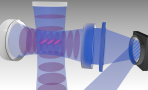 A computer generated graphic showing intersecting blue beams holding pink cigar shaped tubes that represent atoms levitated in the optical cavity by laser beams.
