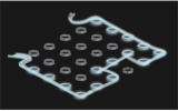 Image depicts photonic edge state in a 2D array of resonators. Transmission of light is protected from defects because the system exhibits a photonic version of the quantum spin Hall effect. (Image credit: E. Edwards)